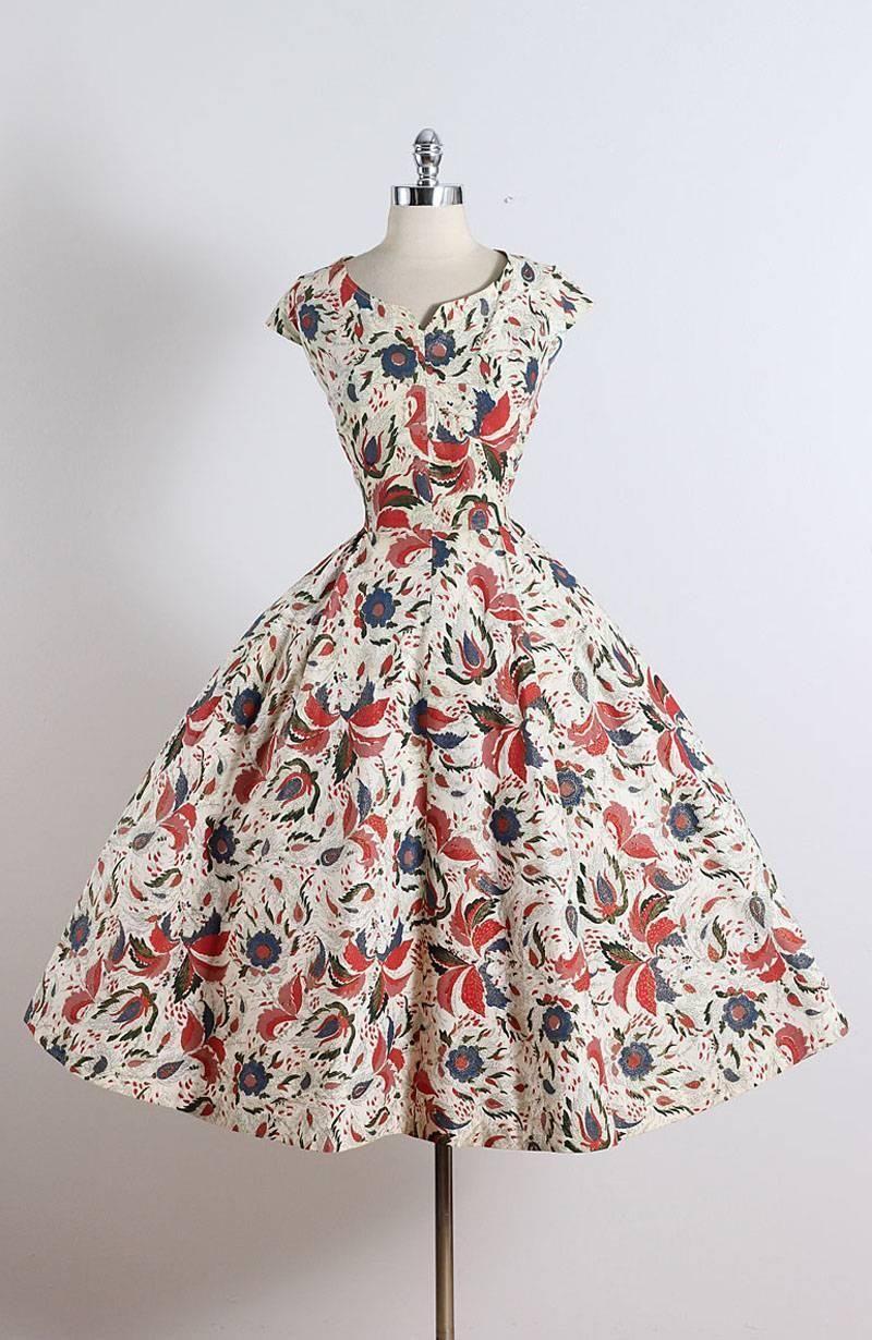 Vintage 1950s Floral Cotton Dress 1stdibs Com Floral Cotton Dress Prom Gowns Vintage Vintage 1950s Dresses