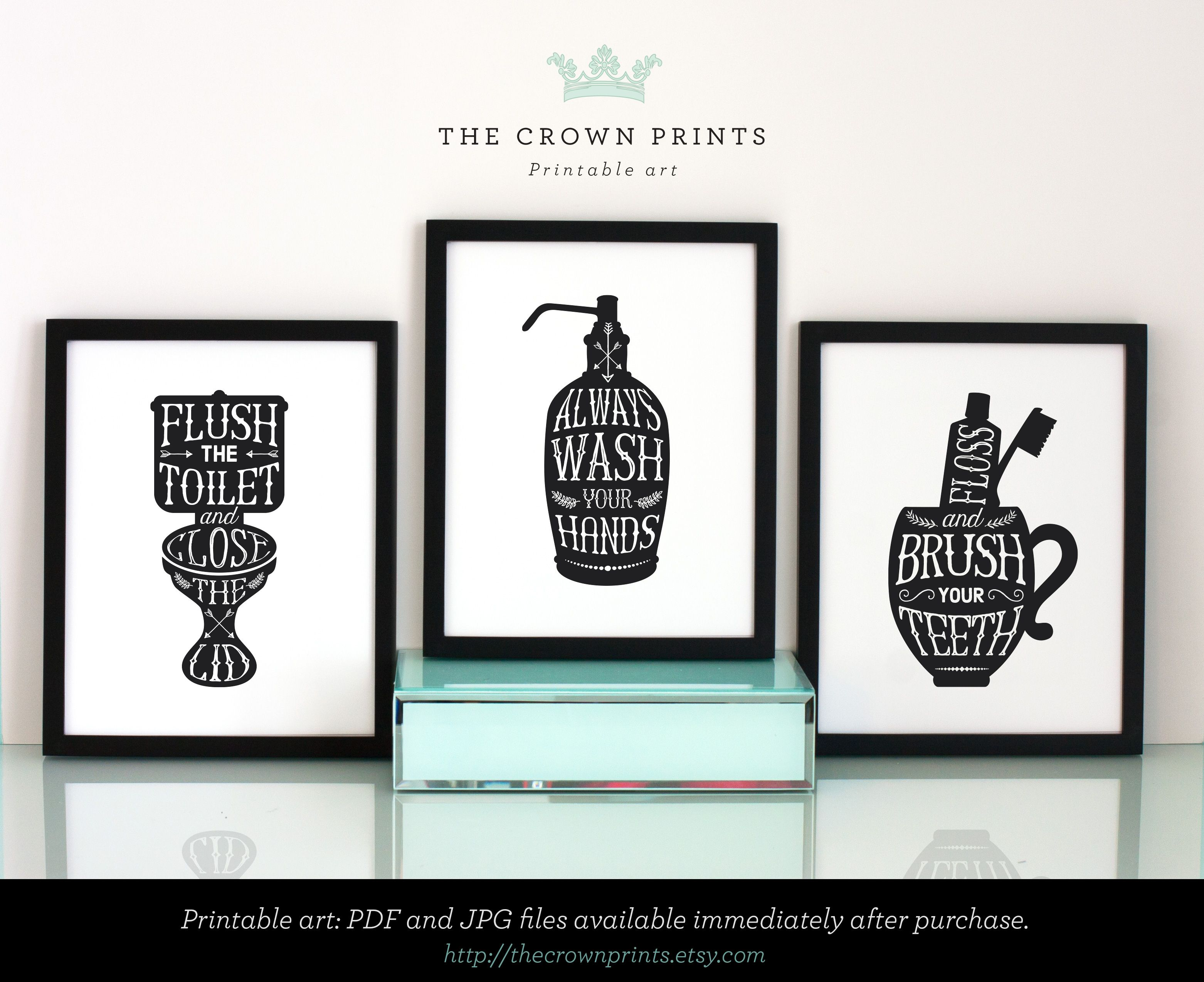 Bathroom Wall Decor, PRINTABLE ART, Gallery Prints Set Of