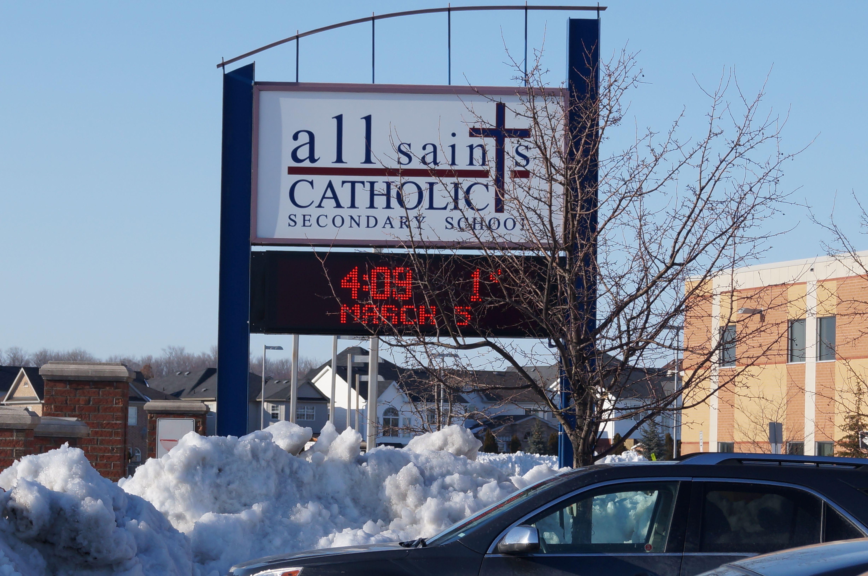 All Saints High School Digital Reader Board sign box