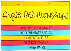 This Angle Relationships foldable activity would be perfect for my 7th grade math, 8th grade math, or Geometry students to help learn and review the different types of angles : Complementary Angles, Supplementary Angles, Adjacent Angles, Vertical Angles, and Linear Pairs!  My Math & Geometry students always love doing foldables for notes.