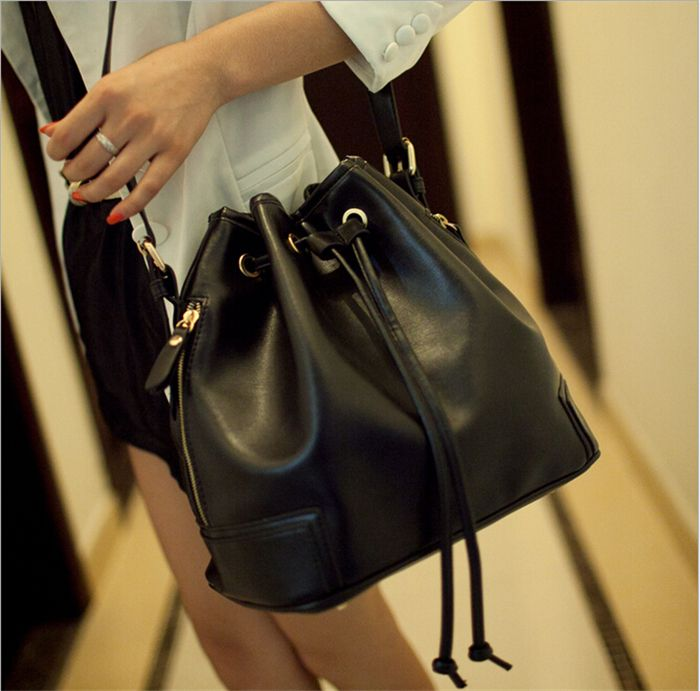 2017 new Women Pu Leather Bag Simple Drawstring Bucket Handbag ...