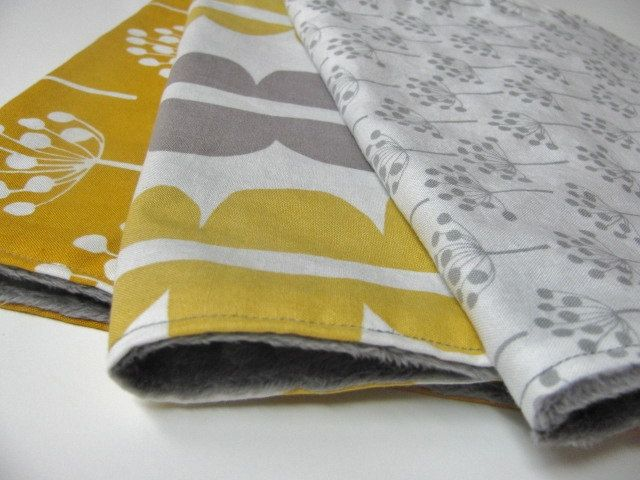 Burp Cloth Set, Grey and Yellow, Lotta Jansdotter with Grey Minky Dot. $21.00, via Etsy  These too...