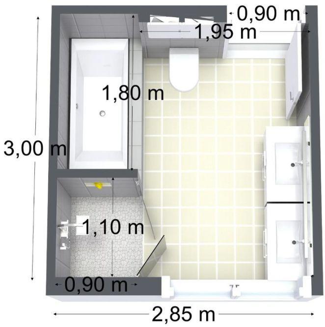 Idée décoration Salle de bain \u2013 bathroom floor plan\u2026 Pinterest