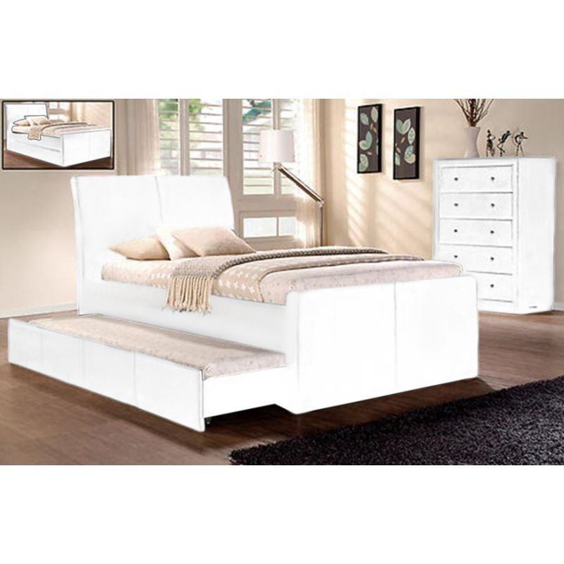 king single size lecca white bed frame with trundle buy kids twin beds