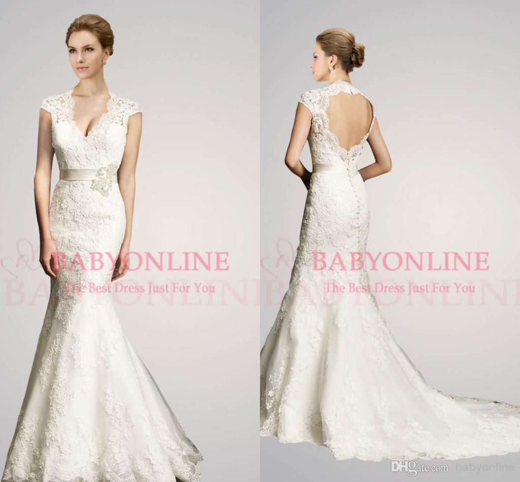 sexy v neck wedding dresses capped short sleeves ribbon sash