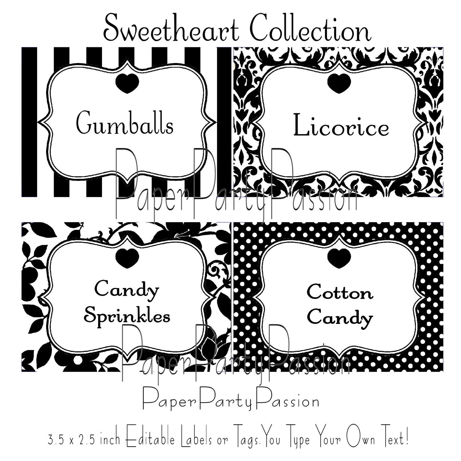 Candy buffet printable editable party labels or tags black for Free tag templates