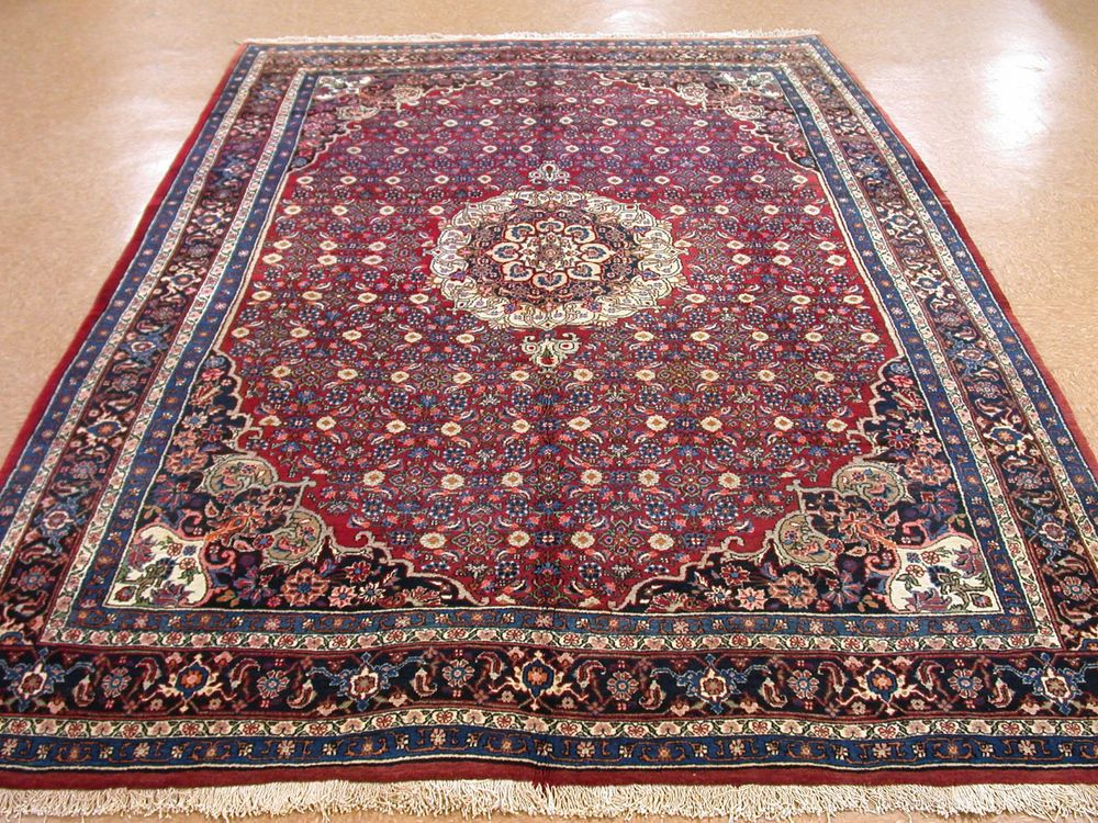 7 X 11 Persian Bijar Tribal Hand Knotted Wool Traditional Red Blue Oriental Rug Persianbijartraditionaltribalfloralherati Blue Oriental Rug Oriental Rug Rugs