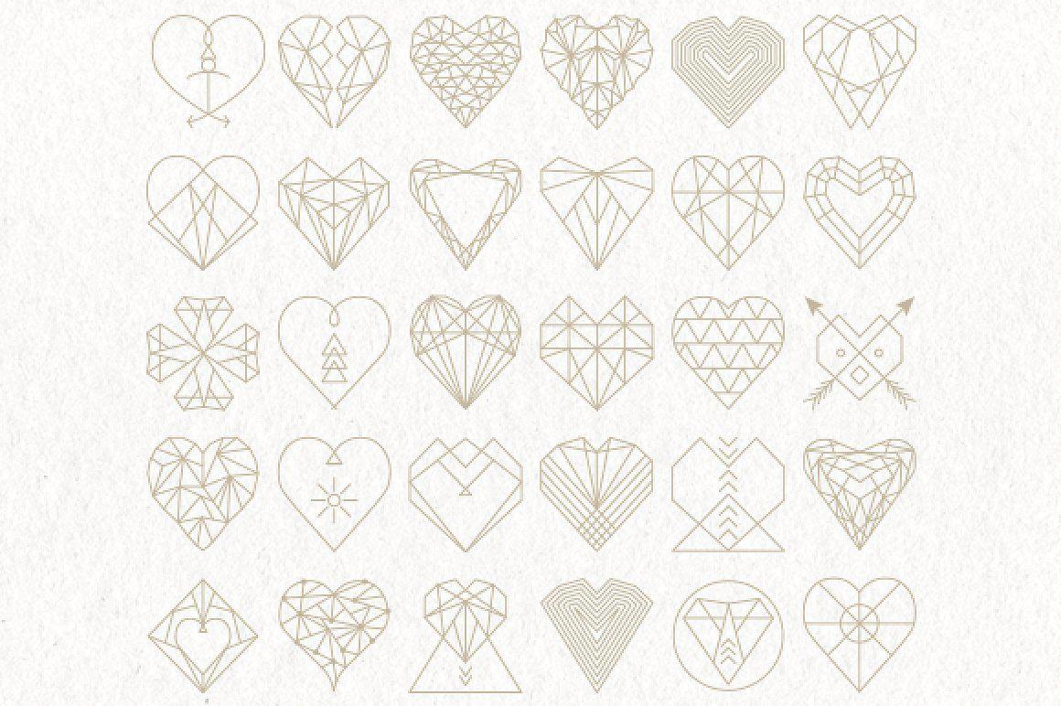 30 Geometric Heart Shapes Symbols File Format Adobe Illustrator
