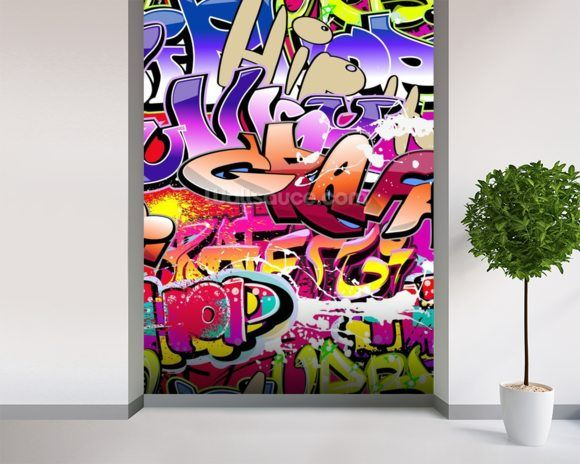 Hip Hop Purple Graffiti wallpaper mural room setting