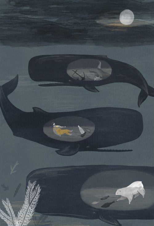 illustration, animal, whale, water, ocean, moon, bear, fish, cut away, naive. ALICE FERROW