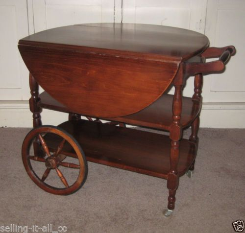 Antique Tea Cart Drop Leaf Table 6 Spoke Wheels Serving Cherry Drawer Wooden In Antiques Furniture Tables Post 1950 Ebay