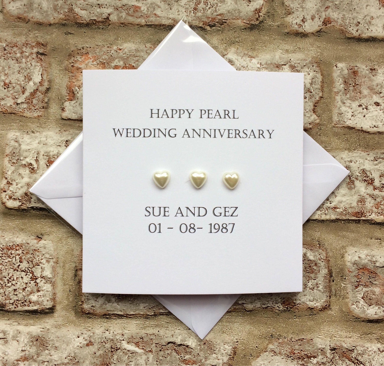 Personalised 30th Wedding Anniversary Card Handmade For Pearl Etsy 30th Wedding Anniversary Card Wedding Anniversary Cards 30th Wedding Anniversary