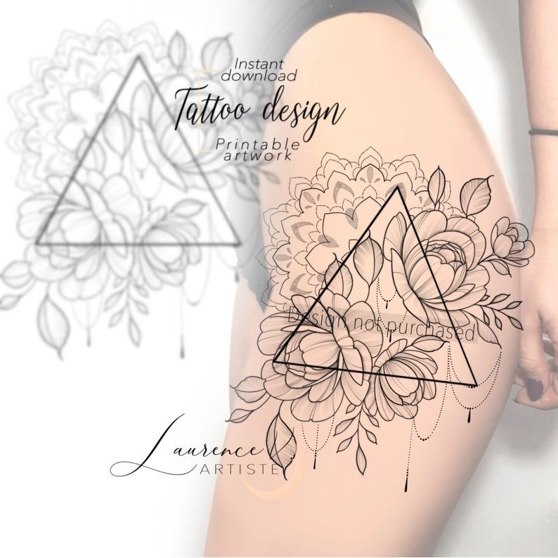 Instant Download Tattoo Design Triangle Flowers Mandala Etsy In 2020 Mandala Tattoo Design Mandala Tattoo Tattoo Designs