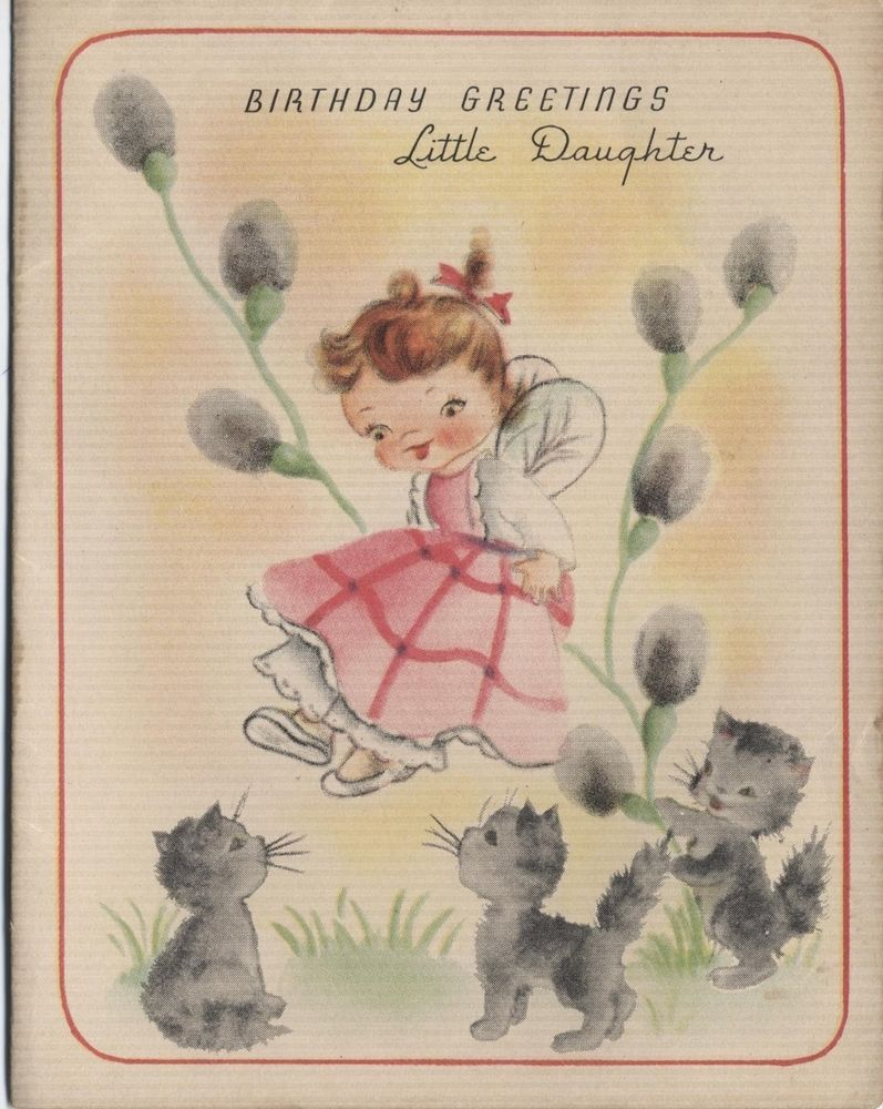 vintage daughter birthday greeting card kitten pussy willow cat – Birthday Cards Usa