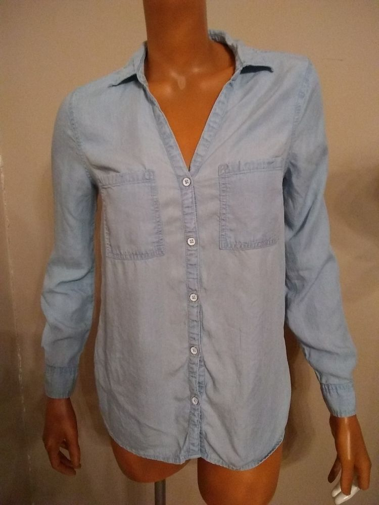 3ab8f7e9a437bd Old Navy Soft Lyocell Womens Small Relaxed Classic Shirt Blouse Baby Blue  2016  OldNavy  Blouse  Casual