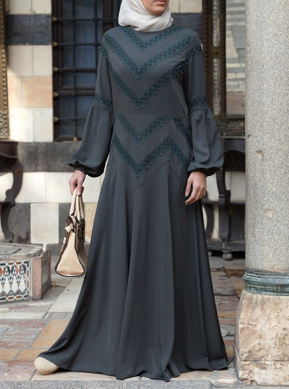 Ishya lace abaya gown gowns islamic fashion and lace trim