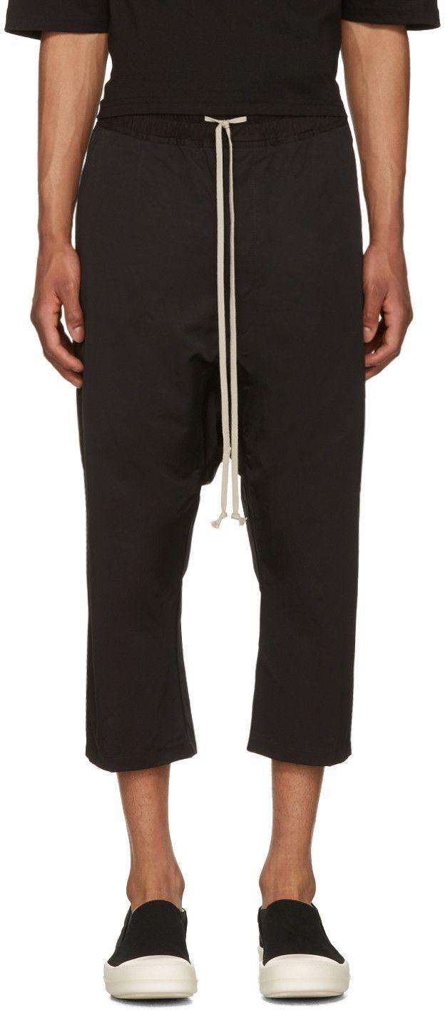Black drawstring cropped trousers Rick Owens lRTz8