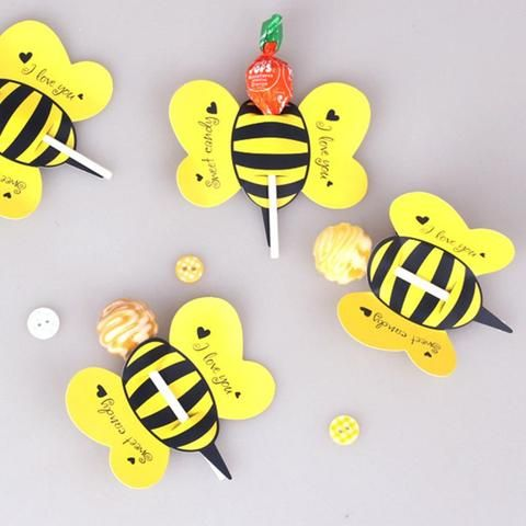 Lollipop Insect Card Decoration 50pcs Candy Bees Ladybug Butterfly Gift Cute Birthday Party For Kids Wedding Decor #decorationevent