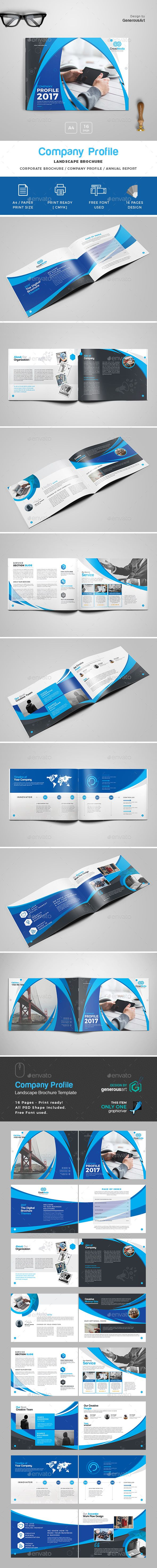 Landscape Brochure Template  Brochure Template Brochures And