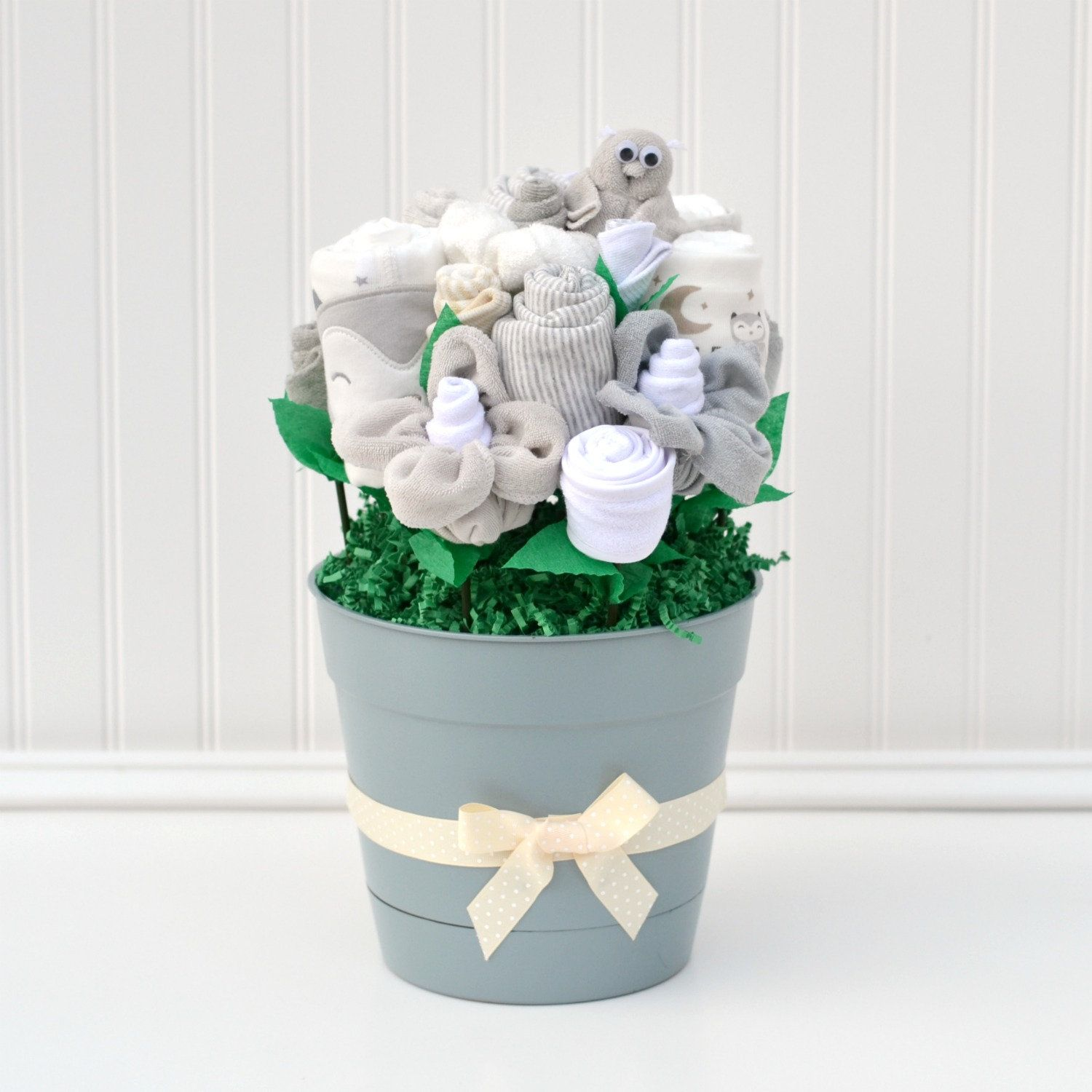Gray and Cream Baby Shower Gift Basket, Neutral New Baby