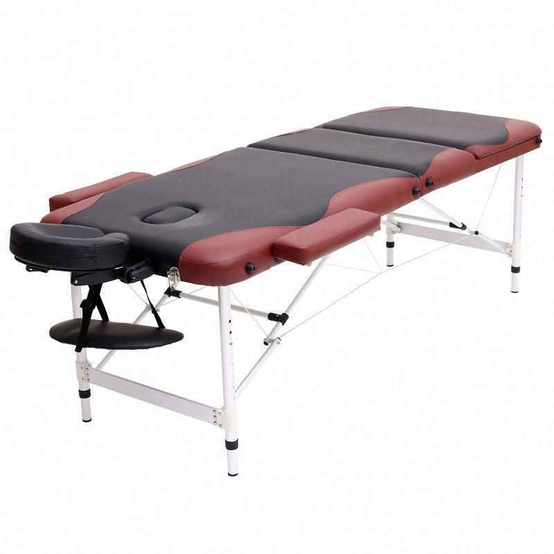Aluminium 3 Section Massage Bed Portable Salon Furniture Wooden Bed
