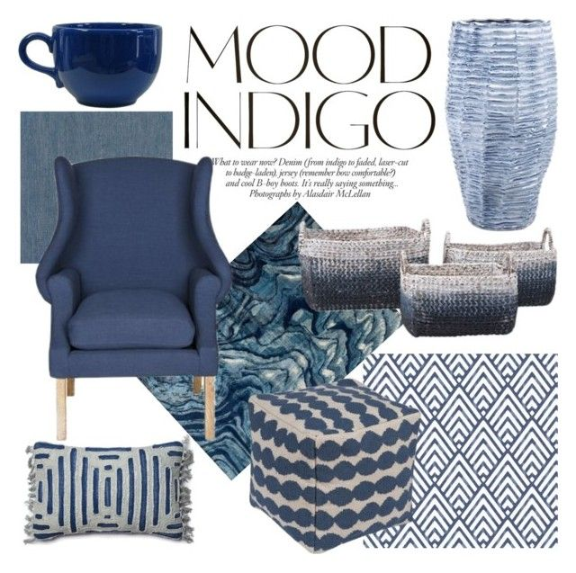 """Mood Indigo"" by atgstores ❤ liked on Polyvore featuring interior, interiors, interior design, home, home decor, interior decorating, Brewster Home Fashions, Loloi Rugs, ANNA and Safavieh"