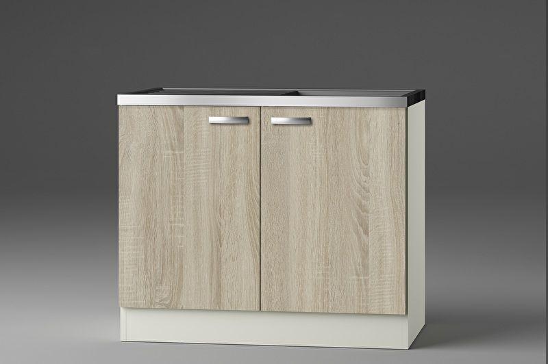 Keukenblok Padua licht eiken ruw met rvs aanrecht en spoelbak 100 x 60 cm HRG-103