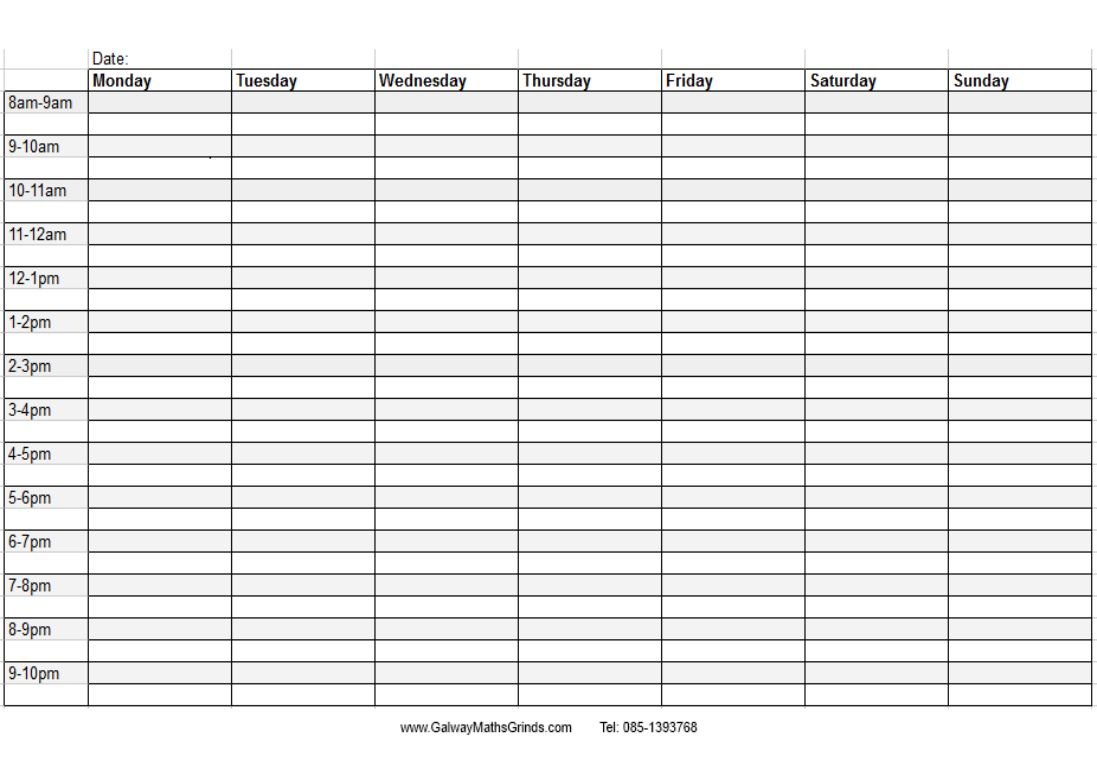 Blank Weekly Calendar Template With Times In 2020 Timetable