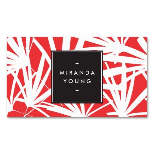 Elegant white and red palm fronds business card stylists for Business card miami