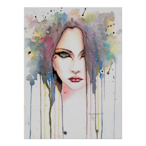 The Psychic Modern Watercolor Portrait Of A Woman Poster Zazzle