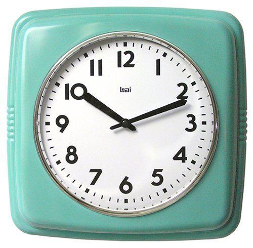Bai Square Retro Wall Clock, Turquoise
