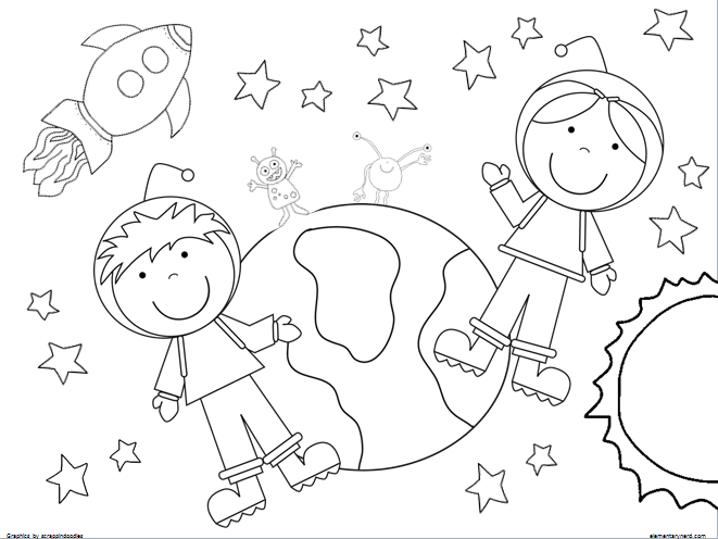 2 Coloring Pages. Boy And Girl Astronaut. Outer Space