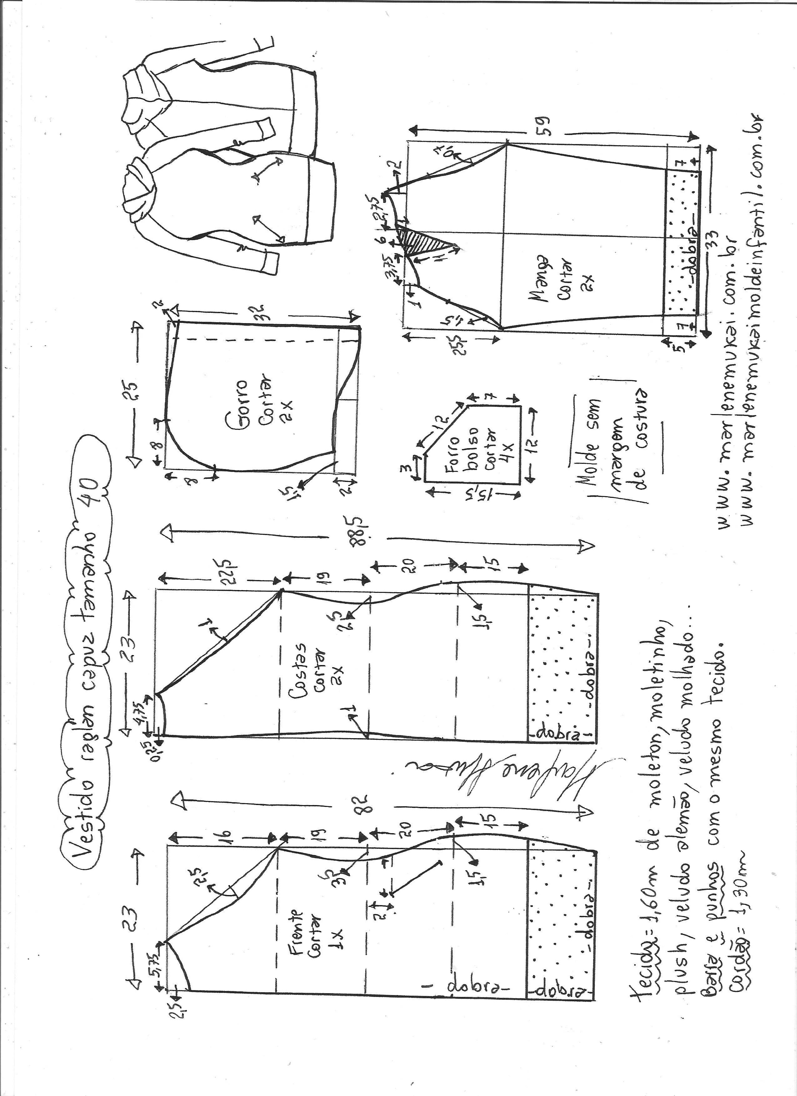Vestido manga raglan e capuz | Patrones, Costura y Molde