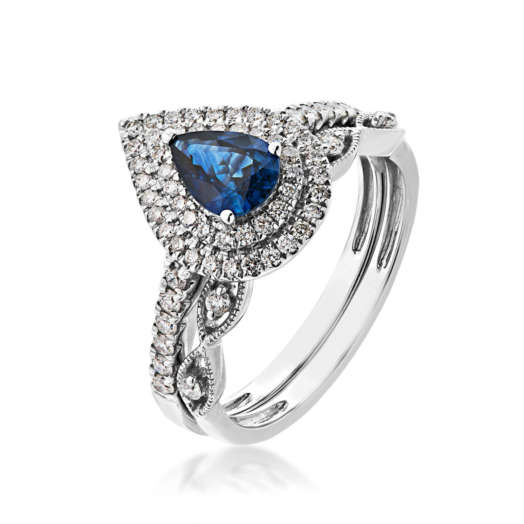 Love In Color Genuine Pear Shape Sapphire 1 2 Ct Tw Diamond Wedding Set In 14k White Gold Tw1305r Diamond Wedding Sets Wedding Sets White Gold