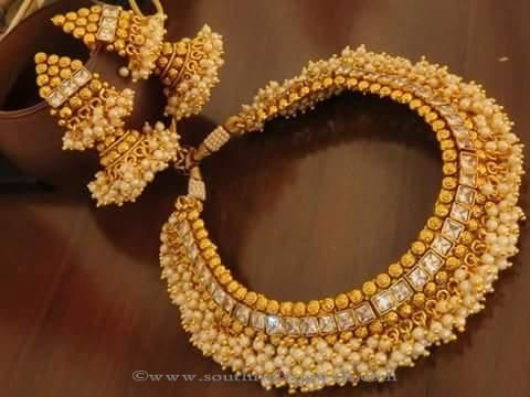 Gold Plated Antique Choker Designs, Gold Plated Pearl Choker Designs, Gold Plated Choker with Jhumkas.