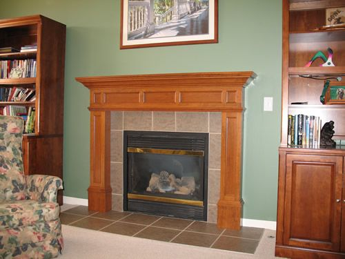 Craftsman Style Fireplace Stained Wood Mantel And White