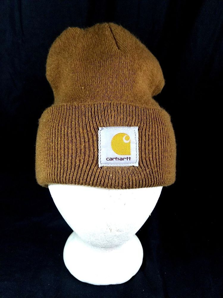 Vintage USA Made Carhartt Brown Winter Beanie Knit Work Hat Skull Cap   Carhartt  Beanie 756b472bb52