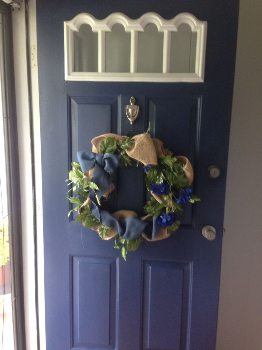 painted the front door sherwin williams indigo batik spray painted. Black Bedroom Furniture Sets. Home Design Ideas