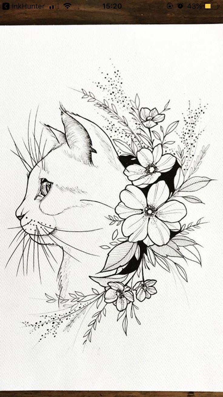 Katze – Tattoo – 2019 - Floral Decor