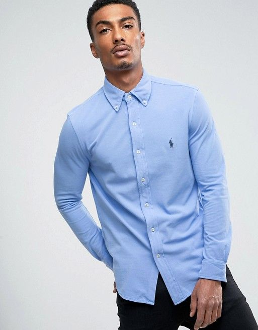 142828834c17 Polo Ralph Lauren Pique Shirt Buttondown Slim Fit in Light Blue ...