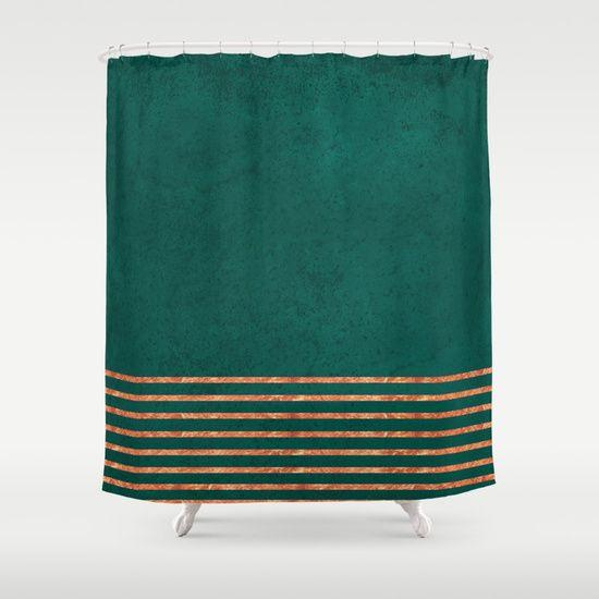 Emerald Copper Gold Brass Stripes Shower Curtain Emerald Copper