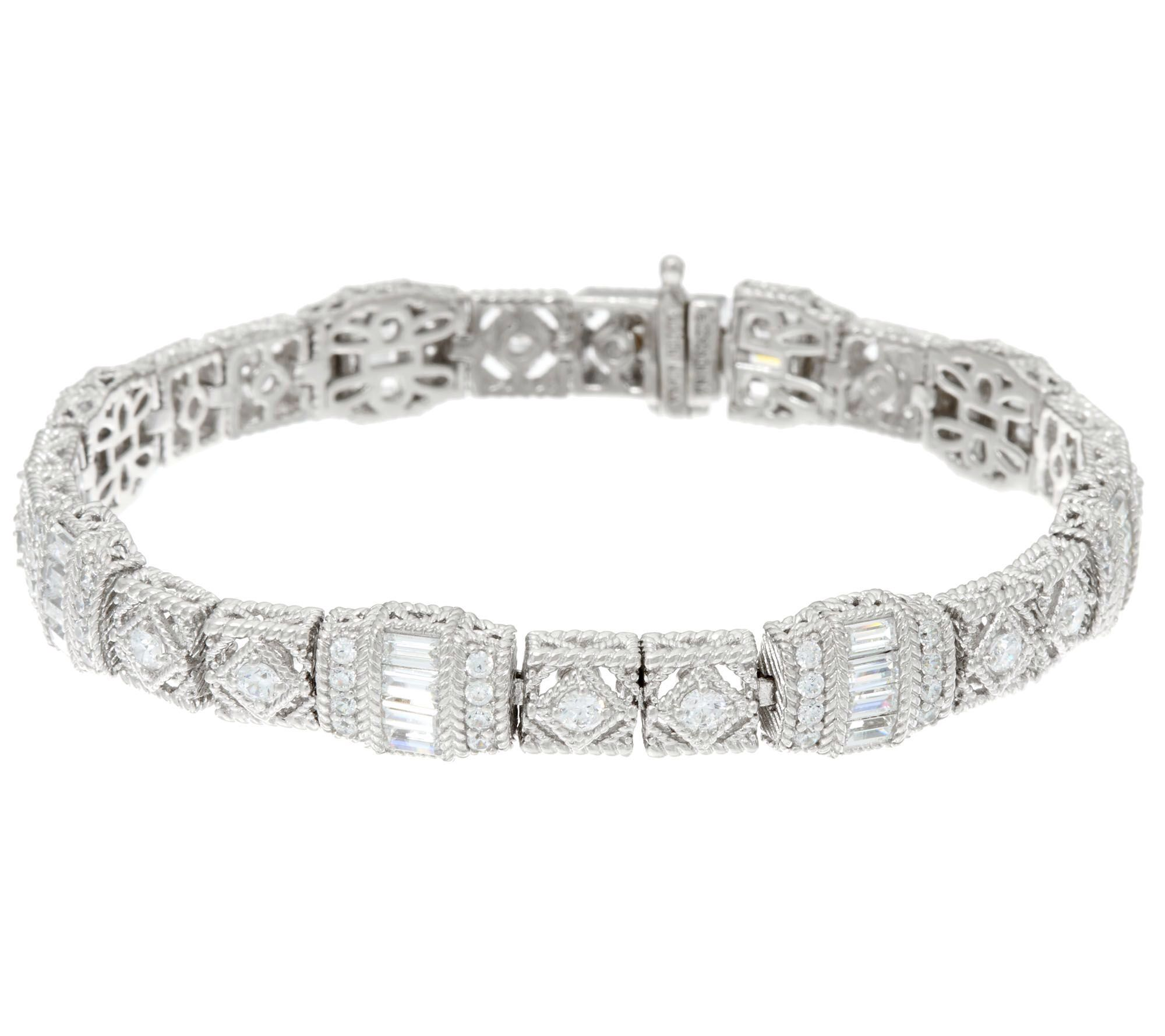 Judith Ripka Sterling Or 14k Clad Estate Diamonique Tennis Bracelet