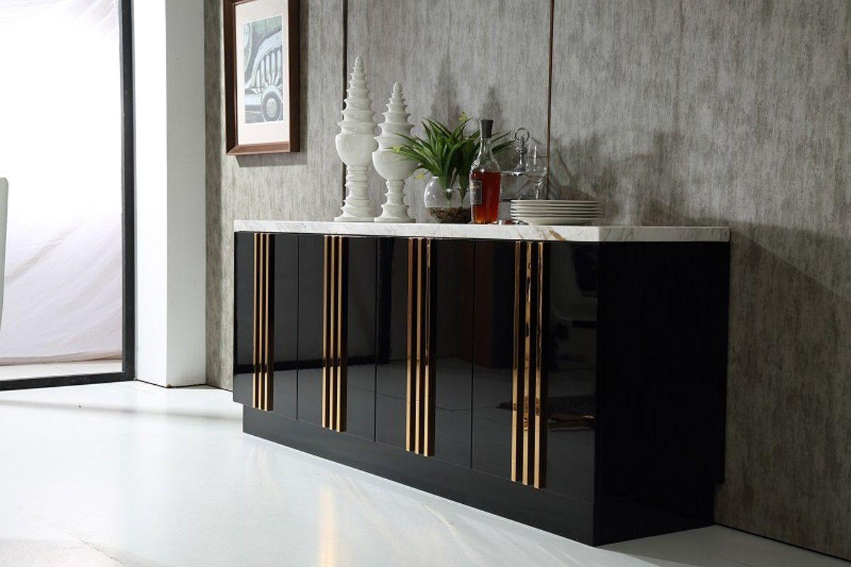Dimensions Buffet 79 W X 20 D X 32 H Spotlight Features Marble Top Black High Gloss Finish 4 Doors 2 Drawer Modern Buffet Modern Buffet Table Modern Sideboard