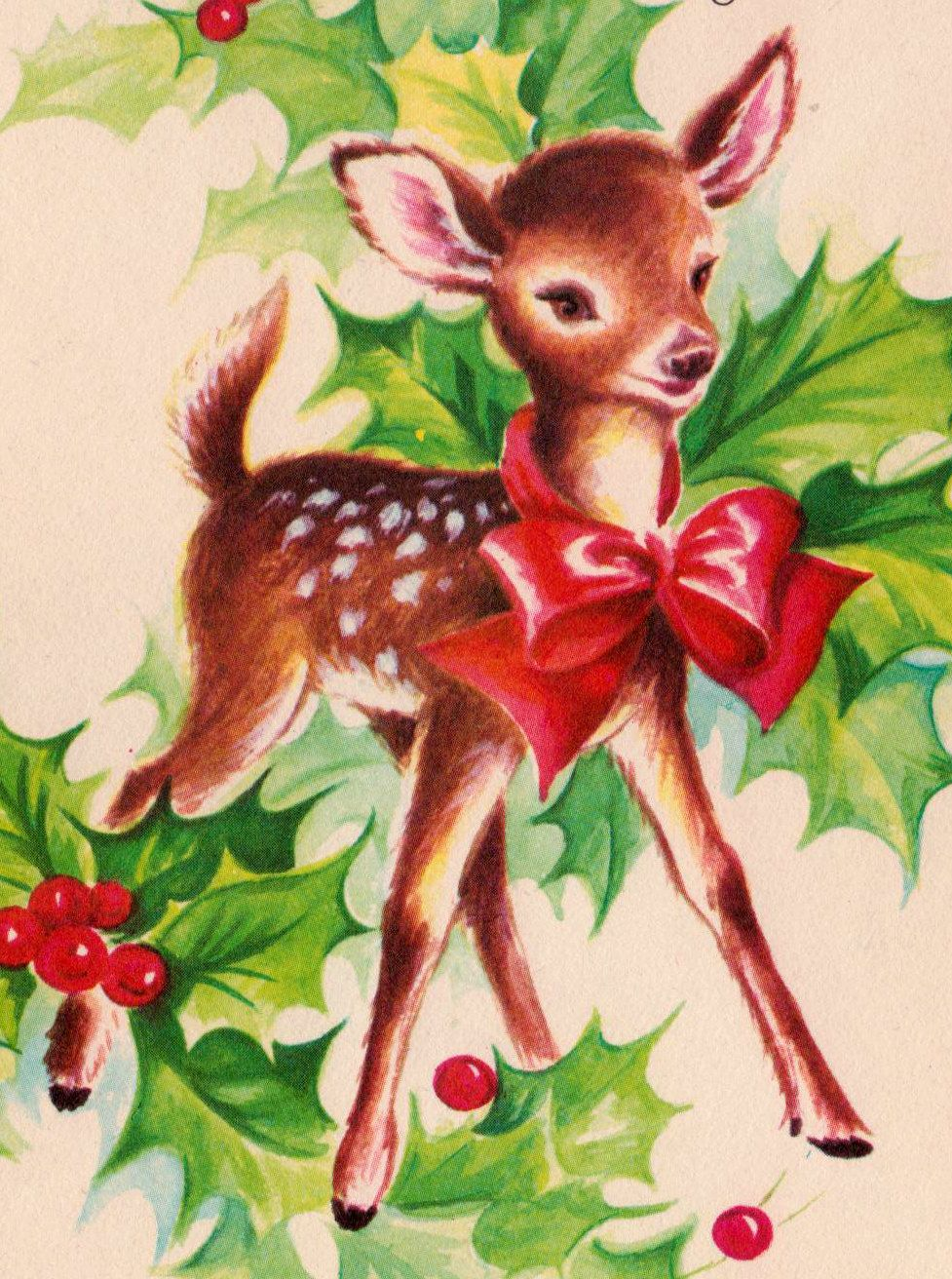 Vintage doe christmas card emma zangs walters for Weihnachtshirsch deko