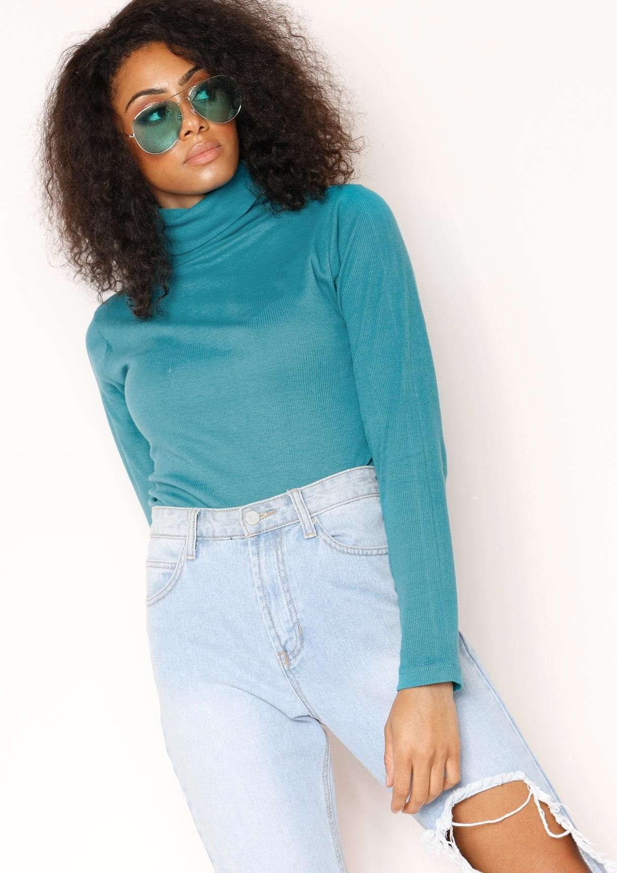 817c14abd Missyempire - Fifi Teal Ribbed Polo Neck Top