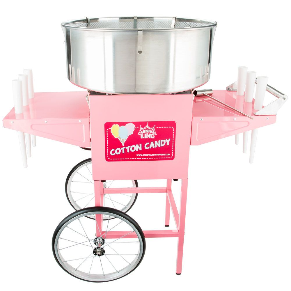 Carnival King CCM21CT Cotton Candy Machine with 21 Stainless Steel Bowl and Cart - 110V, 1050W