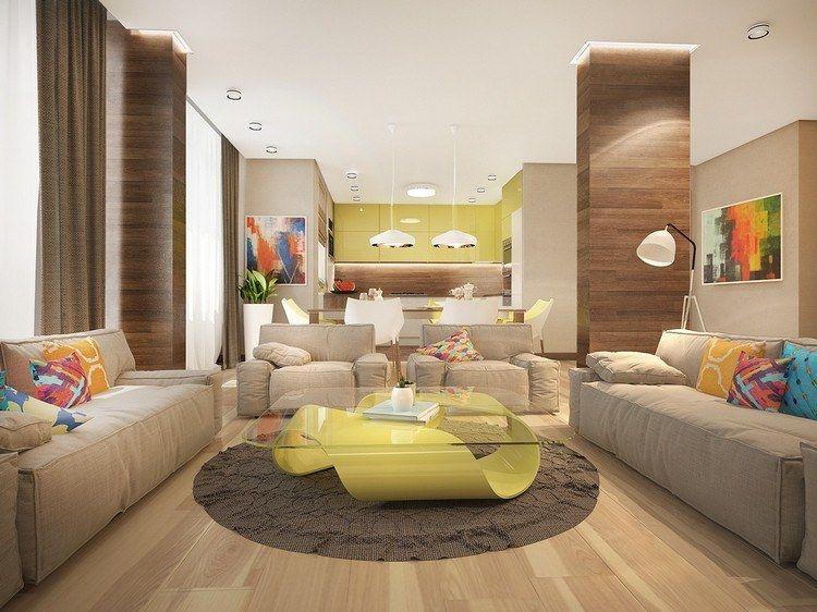 Wohnzimmer Und Küche In Beige Und Holz   Gelbgrüne Akzente