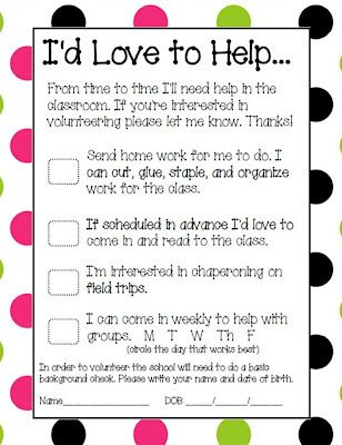Parent Volunteer Form Pinterest Parent volunteer form, Parent