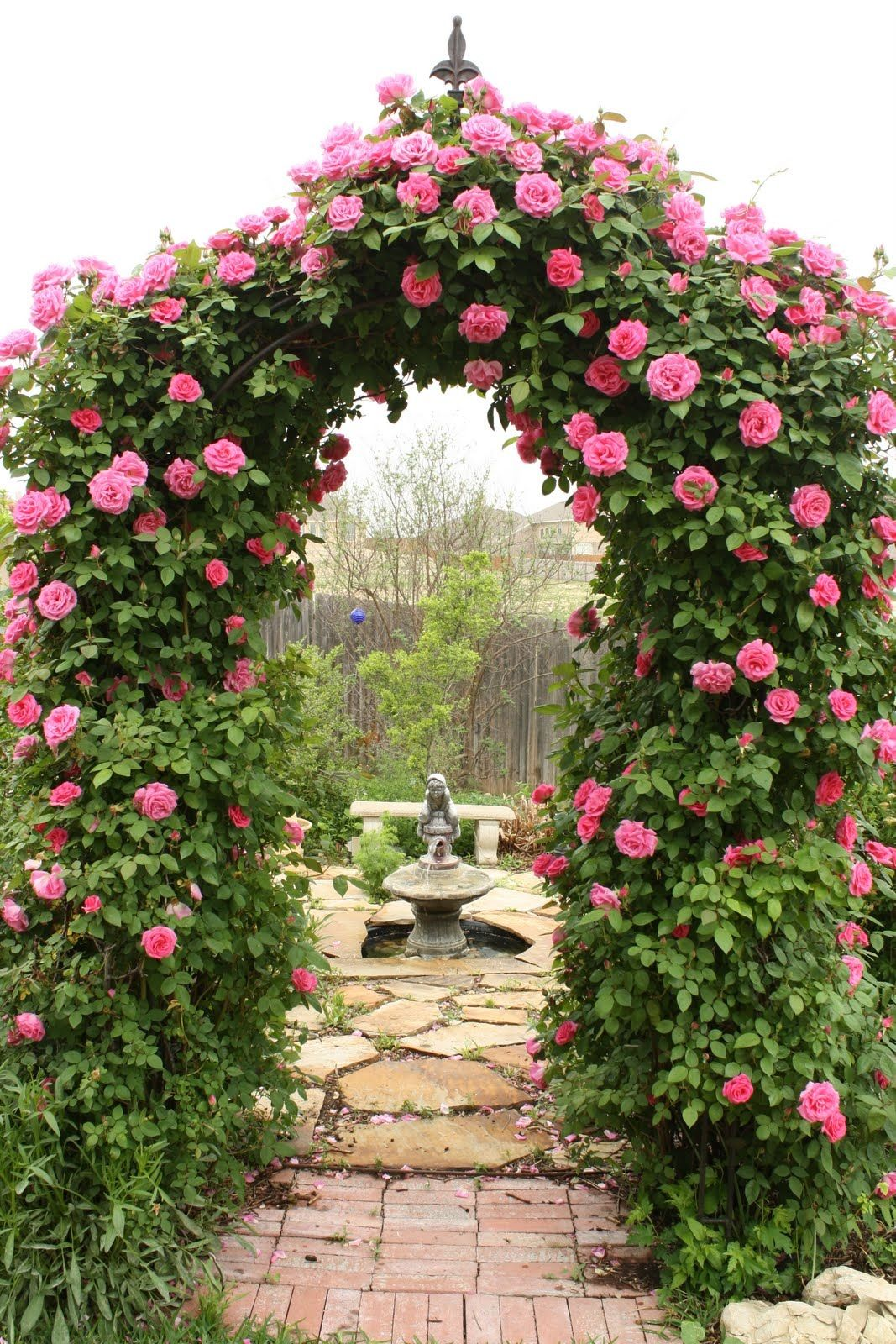 Arbor Leading To Rose Garden Room With Fountain And I D Add