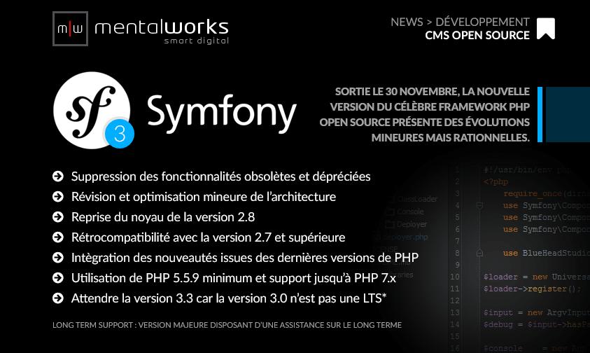 Sortie le 30 novembre, le framework #Symfony3 #PHP #open_source conçu par #Sensiolabs présente des évolutions mineures mais rationnelles. Experte en développement Symfony, #mentalworks est à votre service pour migrer de version ou concevoir votre projet d'application web ou métier.  http://symfony.com/blog/symfony-3-0-0-released